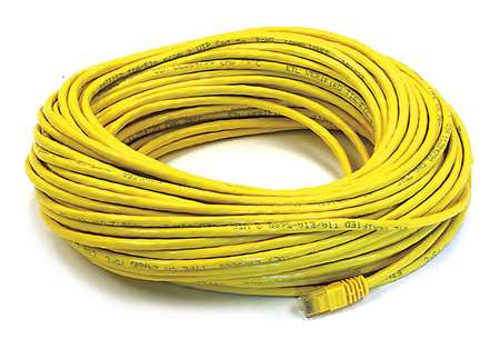 Ethernet Cable, Cat 6, Yellow, 100 ft.