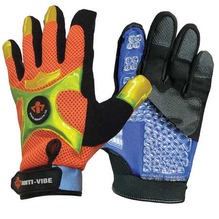Anti-Vibration Gloves, XL, Black/Orange, PR