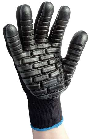 Anti-Vibration Gloves, M, Black, PR