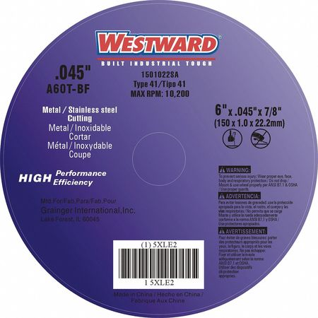"CutOff Wheel, A60T, 6""x.045""x7/8"", 10200rpm"