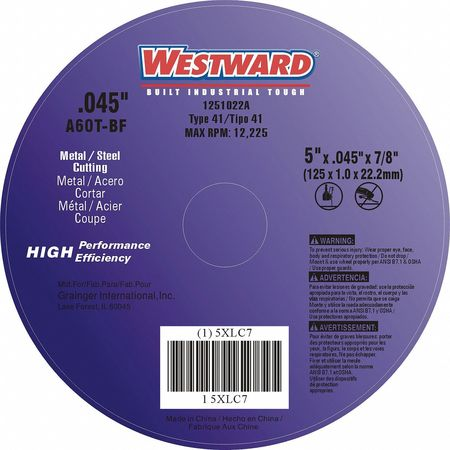 "CutOff Wheel, A60T, 5""x.045""x7/8"", 12225rpm"