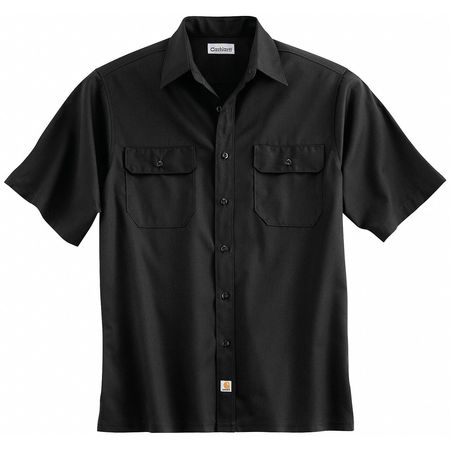 Short Sleeve Shirt, Black, Poly/Cott, M