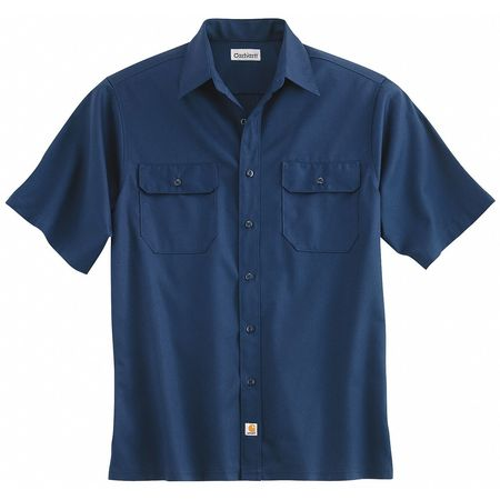 Short Sleeve Shirt, Navy, Poly/Cott, L