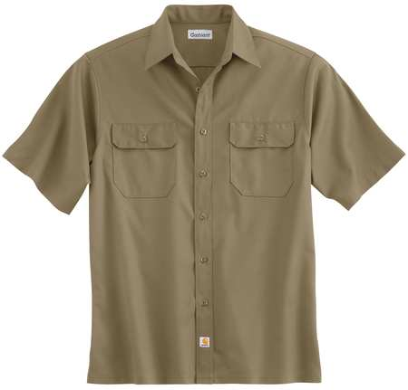 Short Sleeve Shirt, Khaki, Poly/Cott, XL