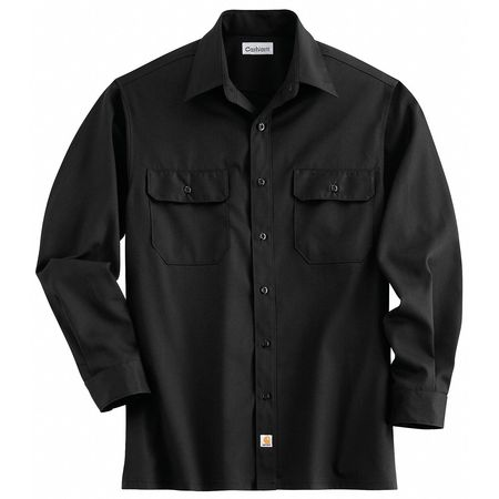 Long Sleeve Shirt, Black, Poly/Cott, 2X