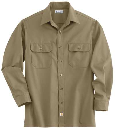 Long Sleeve Shirt, Khaki, Poly/Cott, M
