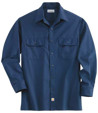 Long Sleeve Shirt, Navy, Poly/Cott, XL