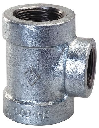 "2"" x 2"" x 1"" FNPT Galvanized Reducing Tee"