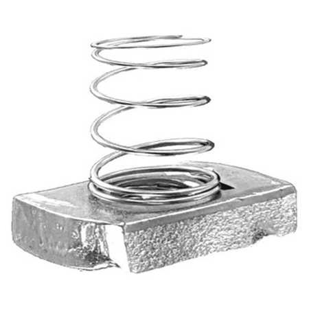 Channel Spring Nut, 1/4 In, Silver, PK25