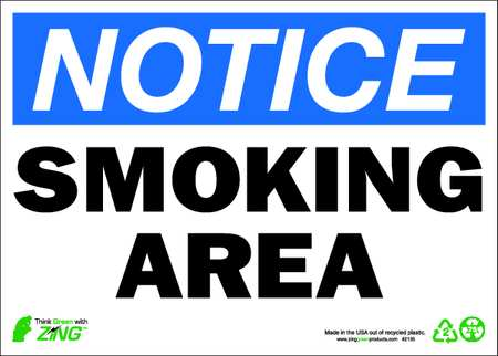 Smoking Area Sign, 10 x 14In, Recycled AL