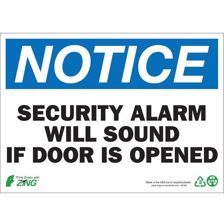 Notice Security Sign, 10 x 14In, ENG, Text