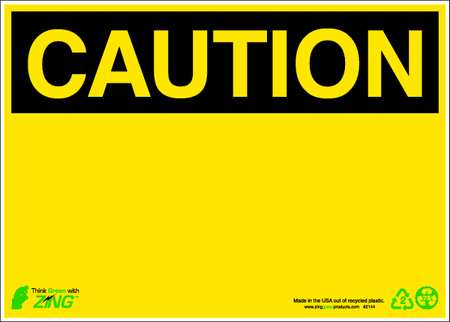 Caution Sign, 10 x 14In, YEL/BK, BLK, SURF