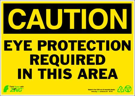 Caution Sign, 10 x 14In, BK/YEL, ENG, Text