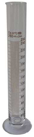 Graduated Cylinder, 250mL, Glass, Clear, PK6