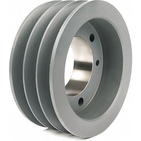"1/2"" - 2-1/2"" Bushed Bore 3 Groove V-Belt Pulley 6.7"" OD"