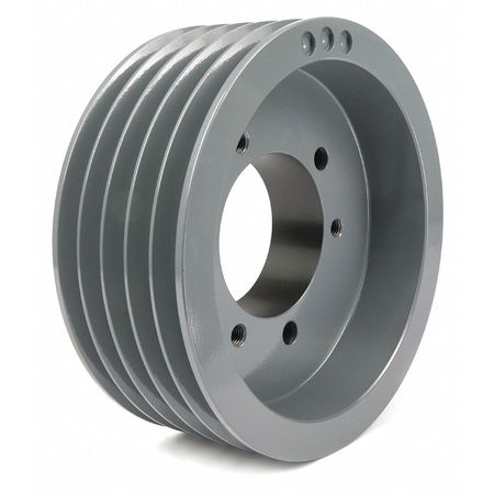 "1/2"" - 2-15/16"" Bushed Bore 5 Groove V-Belt Pulley 6.6"" OD"