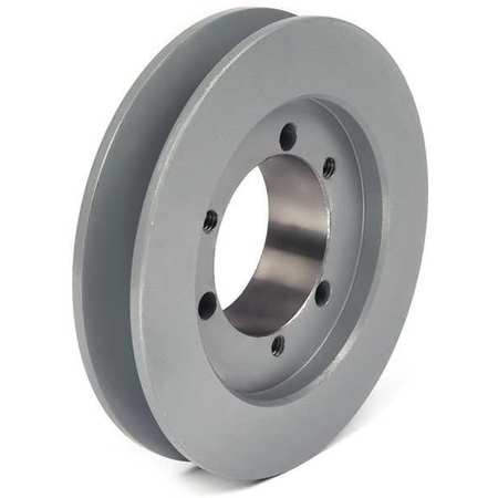 "1/2"" - 1-5/8"" Bushed Bore 1 Groove V-Belt Pulley 5"" OD"