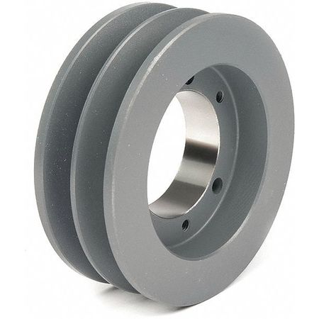"1/2"" - 1-5/8"" Bushed Bore 2 Groove V-Belt Pulley 4.75"" OD"