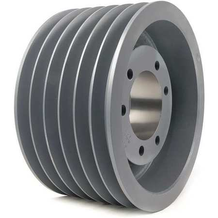 "7/8"" - 3-1/2"" Bushed Bore 6 Groove V-Belt Pulley 10.9"" OD"