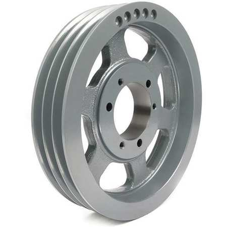 "7/8"" - 3-1/2"" Bushed Bore 3 Groove V-Belt Pulley 12.5"" OD"