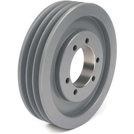 "1/2"" - 2-1/2"" Bushed Bore 3 Groove V-Belt Pulley 8"" OD"