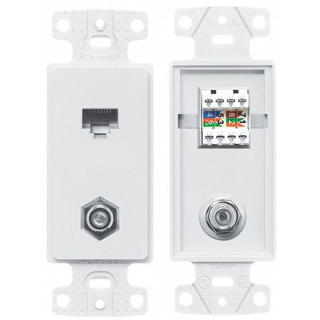 Wall Plate and Jack, Cat 5e/F-Type, White