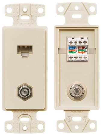 Wall Plate and Jack, Cat 5e/F-Type, Lt Al
