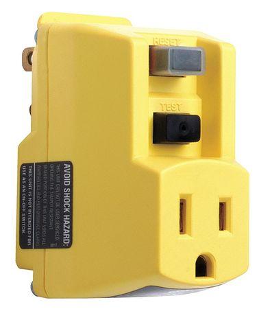 Plug-In GFCI, Ylw, 15A, 5-15P, Indoor, 120VAC