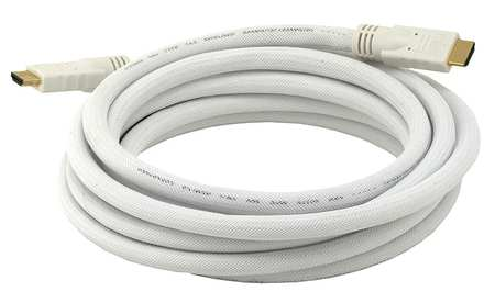 HDMI Cable, High Speed, White, 15ft., 24AWG
