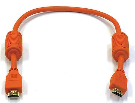 HDMI Cable, Std Speed, Orange, 1.5ft, 28AWG