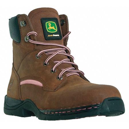 Work Boots, Stl, Wmn, 6.5W, Brn, PR