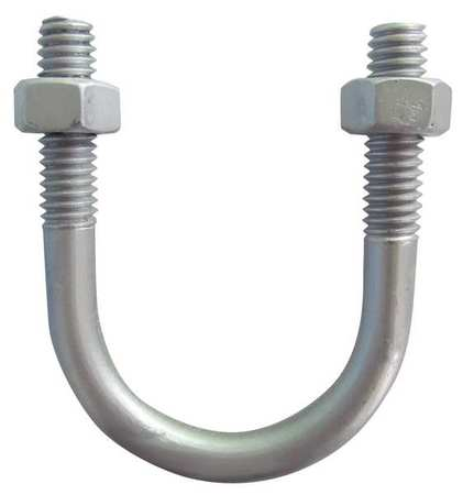 U Bolt, Alum, 3/8-16, Pipe 1/2 In