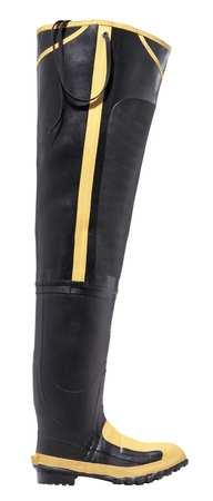Hip Boots, Men, 8M, Steel Toe, Blk/Ylw, PR