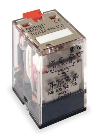Plug In Relay, 14 Pins, Square, 120VAC