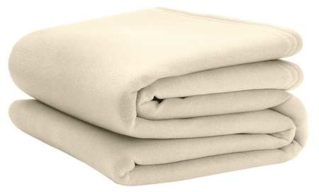 Fleece Blanket, King, 108x90 In., Ivory, PK4