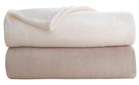 Fleece Blanket, Full, 80x90 In., Khaki, PK4