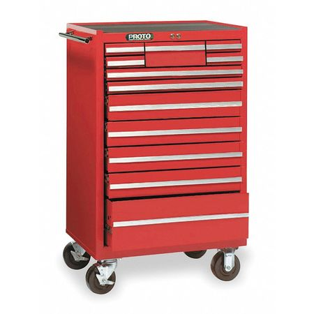 "27"" Rolling Cabinet,  1 Shelf,  12 Drawers,  Red"