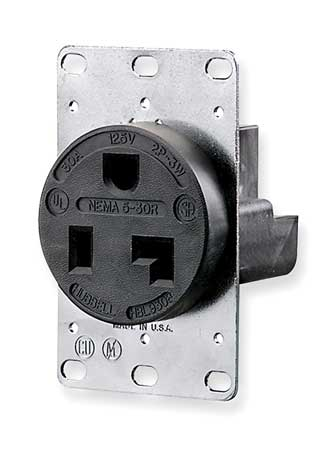 30A Single Receptacle 125VAC 5-30R BK