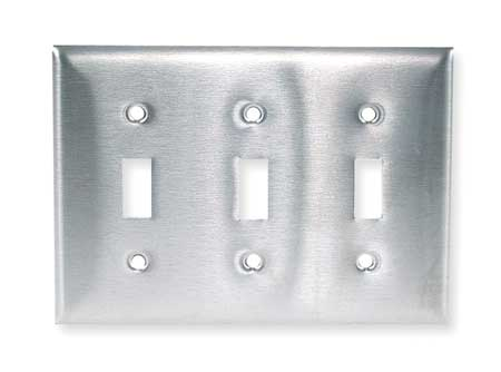 Toggle Switch Wall Plate, 3 Gang, Silver
