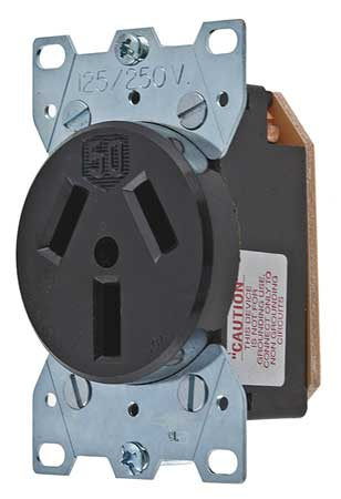 50A Single Receptacle 125/250VAC 10-50R BK