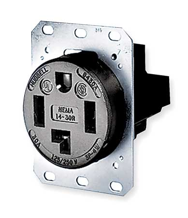 30A 4W Single Receptacle 125/250VAC 14-30R BK