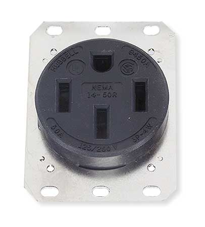 50A 4W Single Receptacle 125/250VAC 14-50R BK