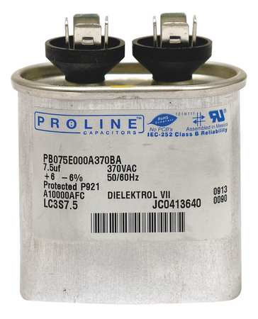 Motor Run Capacitor, 7.5 MFD, 3-3/8 In. H