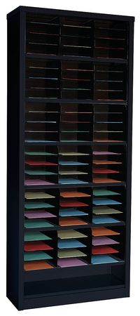 Vertical Literature Organizer 72 Compartments,  Black