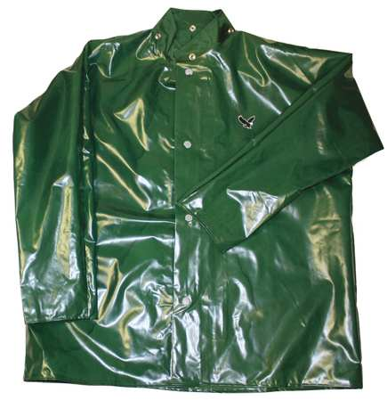 Rain Jacket with Hood Snaps, Green, 2XL