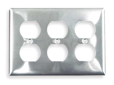 Duplex Wall Plate, 3 Gang, Silver