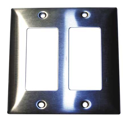Rocker Wall Plate, 2 Gang, Silver