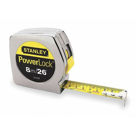 Long Tape Measure, 1Inx8m, Chrome, In/Ft/mm