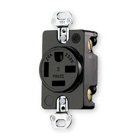 Receptacle, Single, 20A, 15-20R, 250V, Black