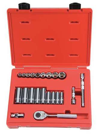 Socket Wrench Set, SAE, 3/8 in. Dr, 22 pc